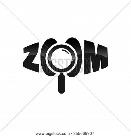Zoom Logo Word. Perspective Zoom Word And Magnifying Glass Symbol