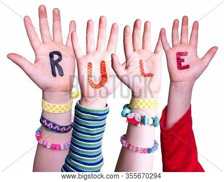 Children Hands Building Word Rule, Isolated Background