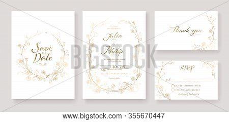 Gold Wedding Invitation, Save The Date, Thank You, Rsvp Card Design Template. Vector. Rose Flower. V