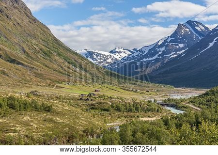 Norwegian Summer Landscape, Wonderful View Of Snow-capped Mountains With Clean, Cold Air In Summer,