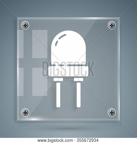 White Light Emitting Diode Icon Isolated On Grey Background. Semiconductor Diode Electrical Componen