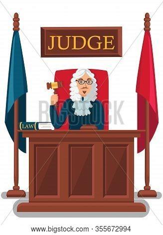 Judge Holding Wooden Gavel Vector Illustration. Court Head Making Decision, Reaching Verdict. Cartoo