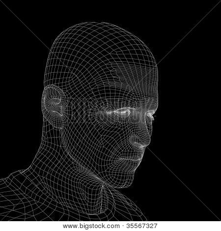 High resolution concept or conceptual 3D wireframe human male head isolated on black background as metaphor for technology,cyborg,digital,virtual,avatar,model,science,fiction,future,mesh or abstract
