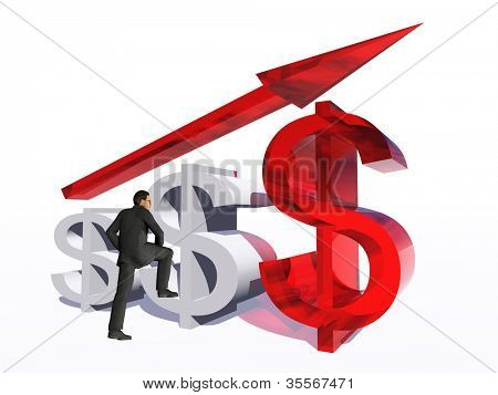 Concept or conceptual 3D red glass dollar symbol with arrow pointing up isolated on white background with businessman as a metaphor for business,finance,money,growth,success,stock,currency or economy