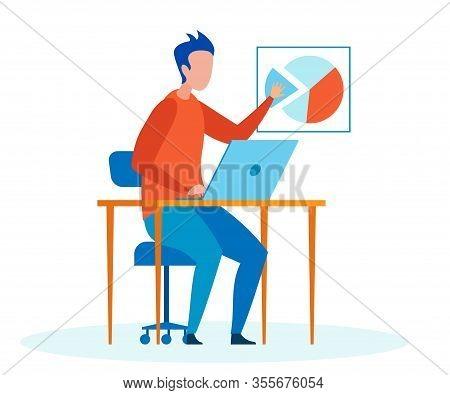 Man, Expert Making Report Flat Vector Illustration. Cartoon Office Worker, Accountant Analysing Stat