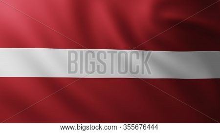 3d Illustration Of Large Latvian Flag Fullscreen Background In The Wind With Wave Patterns