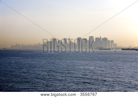 Hazy Early Morning View Of Manhattan From A Ship