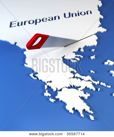 Greece secession from European Union, 3d rendering