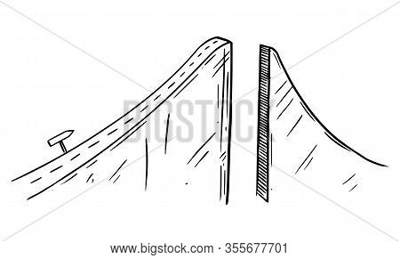 Black And White Conceptual Drawing Or Illustration Of Road To Success Interrupted By Chasm Or Break,