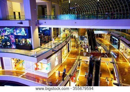 Singapore City, Singapore - April 10, 2019: The Shoppes At Marina Bay Sands Is A Luxury Brands Shopp