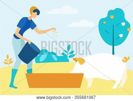 Vector Illustration. Natural Products. Farm Products. Farm Business. Family Business. Woman With Buc