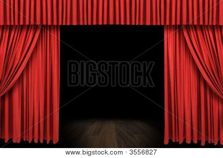 Large Red Curtain Stage