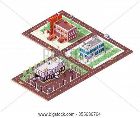 Fire Department, Police Department And Hospital. Set Of Isolated Isometric Illustration With Emergen