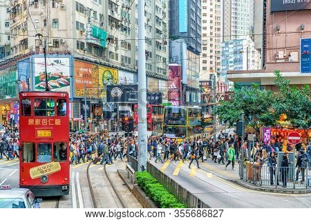 Hong Kong - January 18, 2016: Tramway Transport Is Popular In Hong Kong. Only Tram Railway Network P