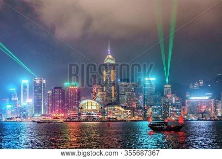 Hong Kong - January 18, 2016: Hong Kong Skyline With City Lights Viewed From Tsim Tsa Tsui Waterfron