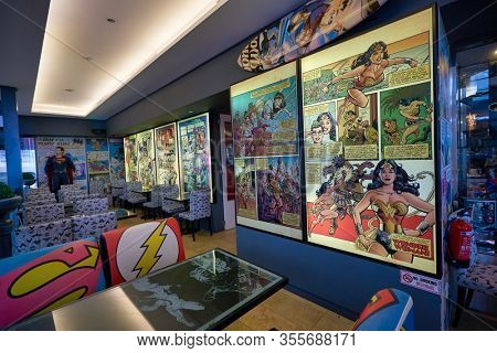 SINGAPORE - JANUARY 20, 2020: interior shot of DC Comics Super Heroes Cafe at the Shoppes at Marina Bay Sands in Singapore.