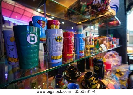 SINGAPORE - JANUARY 20, 2020: goods on display in DC Comics Super Heroes Cafe at the Shoppes at Marina Bay Sands in Singapore.
