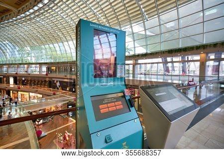 SINGAPORE - JANUARY 20, 2020: two kiosks seen in the Shoppes at Marina Bay Sands