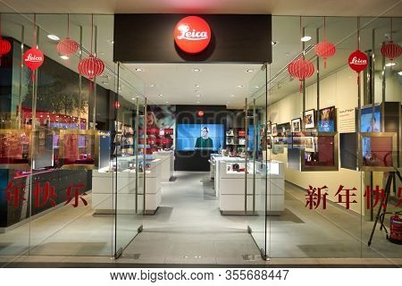 SINGAPORE - JANUARY 20, 2020: Leica storefront in the Shoppes at Marina Bay Sands.
