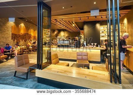 SINGAPORE - JANUARY 20, 2020: Starbucks Coffee in the Shoppes at Marina Bay Sands