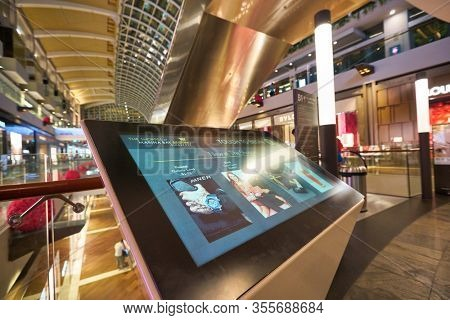 SINGAPORE - JANUARY 20, 2020: interactive touch kiosk seen in the Shoppes at Marina Bay Sands