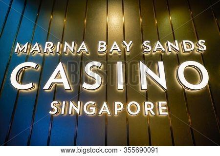 SINGAPORE - JANUARY 20, 2020: close up shot of Marina Bay Sands Casino sign.