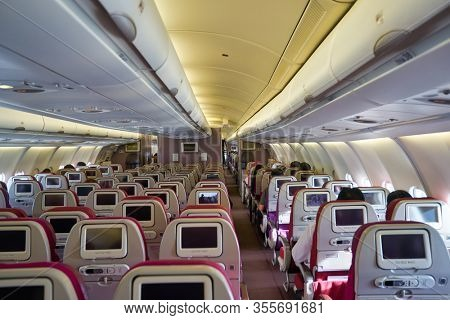 SINGAPORE - CIRCA JANUARY, 2020: inside Malaysia Airlines Airbus A330-300. Malaysia Airlines is the flag carrier of Malaysia and a member of the oneworld airline alliance.