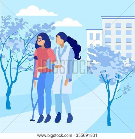 Female Assistant Nurse Walking With Injured Young Woman On Crutches. Natural Park In Rehabilitation