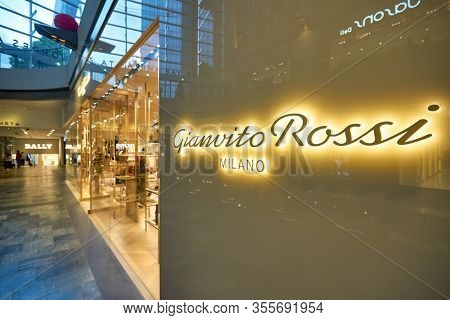 SINGAPORE - JANUARY 20, 2020: Gianvito Rossi storefront in the Shoppes at Marina Bay Sands