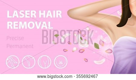 Armpit Epilation Laser Hair Removal, Precise Permanent Horizontal Banner. Woman Holding Arm Up And S