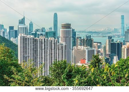 Hong Kong, China - January 30, 2016: Hong Kong Cityscape On Sunny Day. Scenic View Of Victoria Harbo