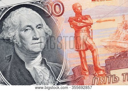 Financial Crisis In Russia. Combined Image Of The 5000 Rubles Russian Currency And The 1 American Do