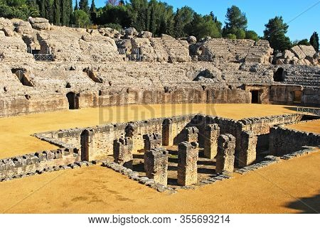 Arena In The Amphitheatre At The Roman Ruins Of Italica, Seville, Seville Province, Andalusia, Spain