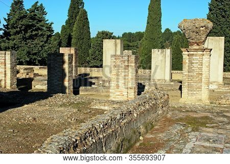 Ruins Of The Exedra Building At The Roman Ruins At Italica, Seville, Seville Province, Andalusia, Sp