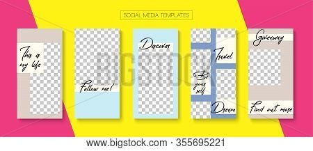 Mobile Stories Vector Collection. Online Shop Rich Vip Invitation Brand. Hipster Sale, New Arrivals