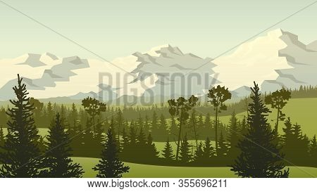 Horizontal Landscape Illustration With Green Grassy Meadow Hills With Coniferous Forest Tops And Roc