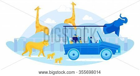 Cartoon Wild Animals And Tourists In Car Vector Illustration. Outdoor Adventure. Visitor In Open Air