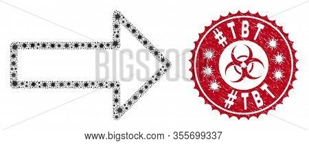 Coronavirus Collage Arrow Icon And Round Rubber Stamp Seal With Hashtag Tbt Phrase. Mosaic Vector Is