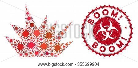 Coronavirus Collage Boom Explosion Icon And Rounded Grunge Stamp Seal With Boom Exclamation Text. Mo