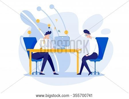 Discontented Office Boss, Lecturing Lazy Employee. Frustrated Worker, Fed Up With Despotic And Willf