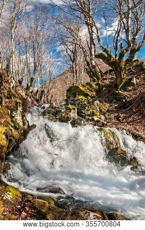 Running Streams, Babbling Streams. Spring Flood In Early Spring In The Balkans.spring Stream In Earl