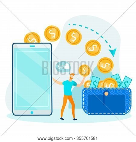 Dollar E-wallet And Financial Operations With Currency. Man Transfer Gold Coins To Purse Metaphor. F