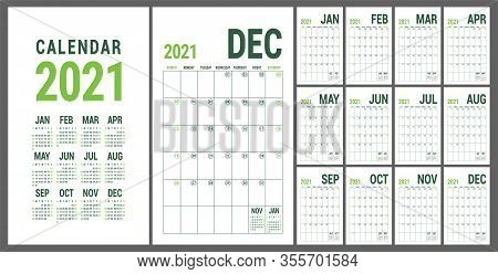 Calendar 2021. English Calender Template. Vector Grid. Office Business Planning. Creative Design. Ol