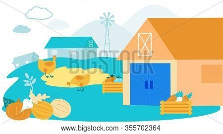 Farmyard Livestock. Grazed On Farm. Vector Illustration. Natural Products. Farm Products. Farm Famil
