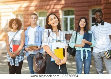 Future Professionals. Portrait Of Diverse University Students Posing Outdoors In Campus, Selective F