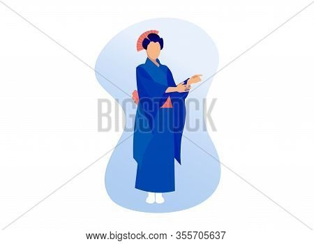 Young Asian Woman Wearing Traditional Japanese Clothes Kimono Geisha Costume Isolated On White Backg