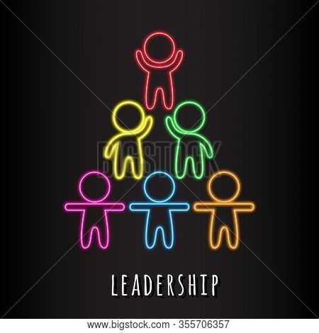 Leadership Colorful Logo. Stylized Human Figures With Neon Glow Isolated On Dark Background. Career