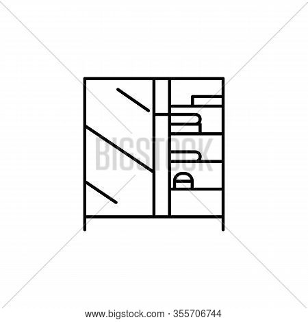 Bedroom, Closet, Furniture Line Illustration Icon On White Background