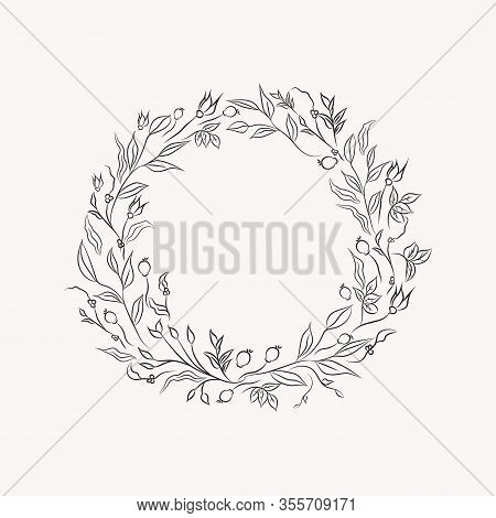 Line Drawing Vector Floral Wreath, Opulent Round Frame With Hand Drawn Flowers, Branches, Leaves, Pl