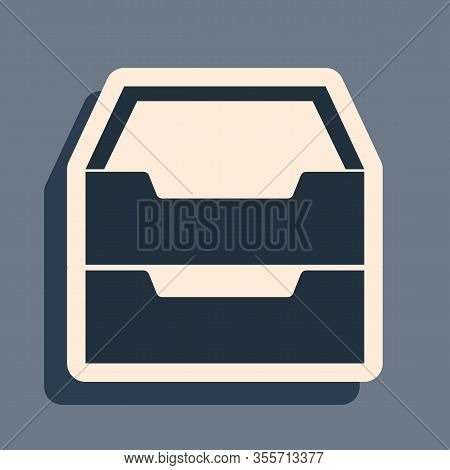 Black Drawer With Documents Icon Isolated On Grey Background. Archive Papers Drawer. File Cabinet Dr